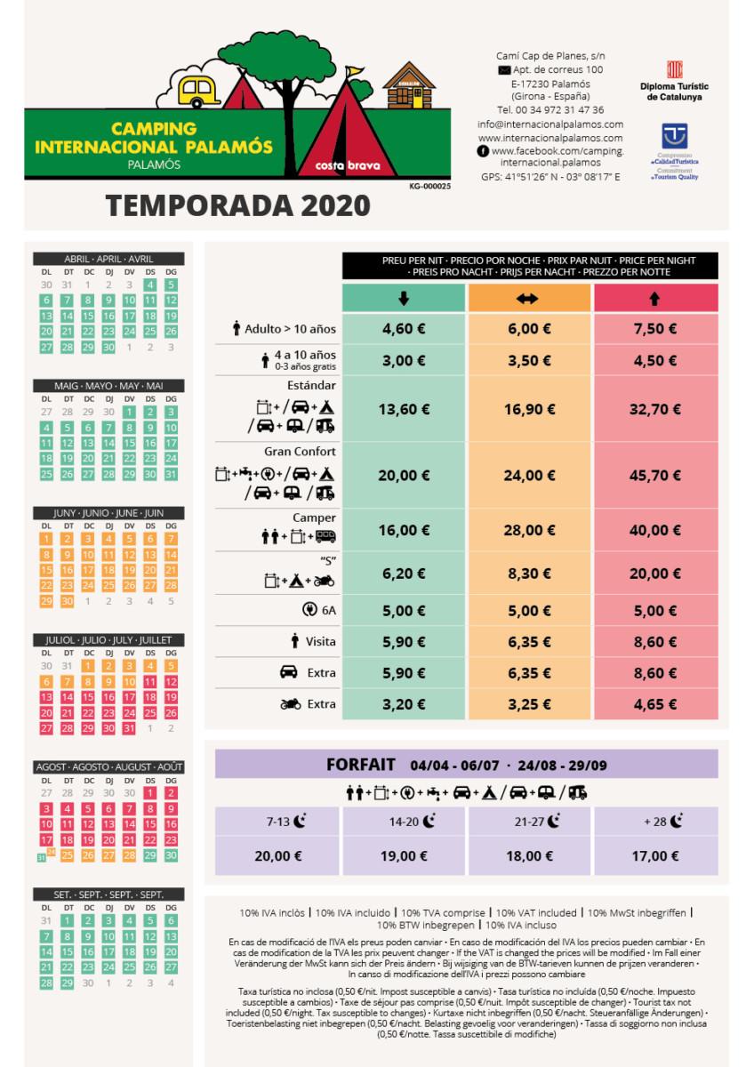 2020 TARIFES PARCEL.LES