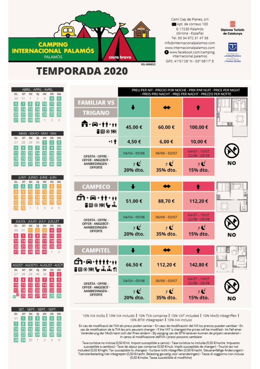 2020 TARIFES BUNGALOUS